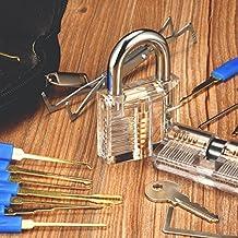 Conjunto de Ganzúas con 24 Piezas y 2 Cerraduras Transparentes Para Practicar, Para Principiantes y Profesionales, Practicar Desbloqueo, Cerraduras de Casa. Incluye Estuche.