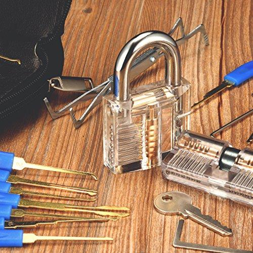 Preisvergleich Produktbild INNOCHEER Lockpicking Set: 24 Teiliges Dietrich Set mit 2 Transparentem übungsschloss in einer Ledertasche,  Das perfekte Lock Pick Set für Anfänger und Profis