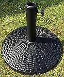 UK-Gardens–Base para sombrilla, 12kg, redondo, ratán, para jardín, apto para sombrillas de 2m, 2,5m, 2,7m y 3m, marrón o negro, mesa de exterior, marrón