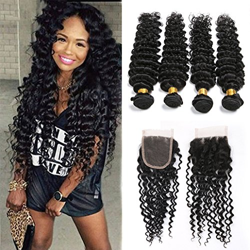 SilkyLong Deep Wave Frontal And 4 Bundles Brazilian Hair Bundles With Lace...