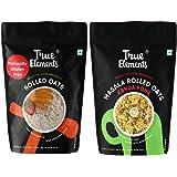 True Elements Gluten Free Rolled Oats 500g + Masala Rolled Oats Kanda Poha 500g - Cereals for Breakfast Combo