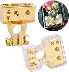 beler 2pcs 12V Gold Universal Positiv & Negativ 2 4 8 Gauge AWG Auto Batterie Klemme Stecker mit Kunststoff Abdeckung