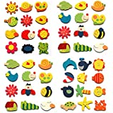 Infinxt Colored Wooden Cartoon Or Nature Theme Fridge Magnets ( Set Of 12 Magnets )