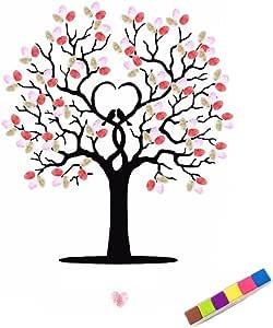 LUFA DIY Hochzeit Unterschrift Fingerabdruck Baum G/äste Buch Leinwand Malerei mit Einem Inkpad