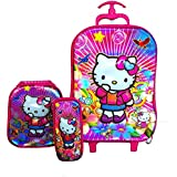 Hello Kitty Travel School Bag and Trolley Luggage Suitcase Bag, 6 Wheels School Bag For Kids By Ratna International