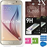 Cell Phones Accessories Best Deals - Samsung Galaxy S6 Screen Protector [Set of 2] - Ballistic Tempered Glass - Maximum Impact Protection - 99.99% Crystal Clear HD Glass - No Bubbles - Cell Phone DIY® Protectors Kit for Samsung Galaxy S6