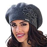 Kamea Juka Baskenmütze Damen Kopfbedeckung Winter Musterlos Blume EU, dunkelgrau,UNI