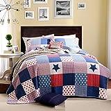 Beddingleer Tagesdecke Bettüberwurf Bettwäsche Baumwolle Patchwork 150 x 200 cm
