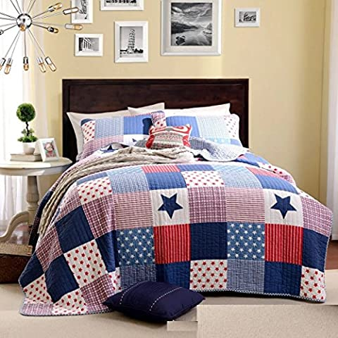 Beddingleer 100% Cotton Soft Quilted Patchwork Bedspread Throw King Set (200 X 230 CM, Set of 3)