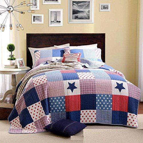 Beddingleer Tagesdecke Bettüberwurf Bettwäsche Baumwolle Patchwork 150 x 200 cm Single Sofaüberwurf Steppdecke Baumwolle Sommerdecke Bettdecke Decken
