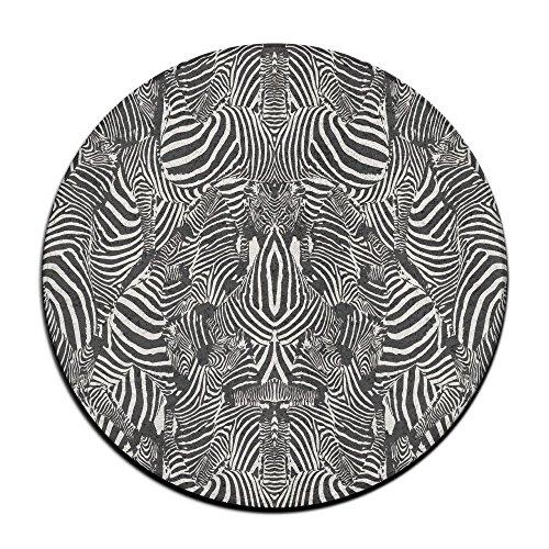 Schwarz Zebra Print rund Boden Teppich Fußmatten für Home Decorator Esszimmer Schlafzimmer Küche Badezimmer Balkon -