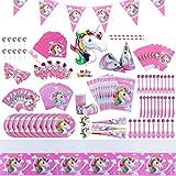 Juego de suministros de fiesta temática de unicornio para niñas decoración de cumpleaños para 10 invitados, mantel, platos, vasos, servilletas, etc. 139 piezas