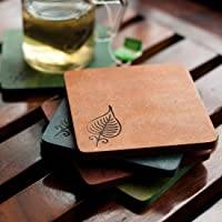 ExclusiveLane Multicoloured Elegant Leaf Engraved Wooden Coasters Set of 5 -Coaster for Table Top Tableware