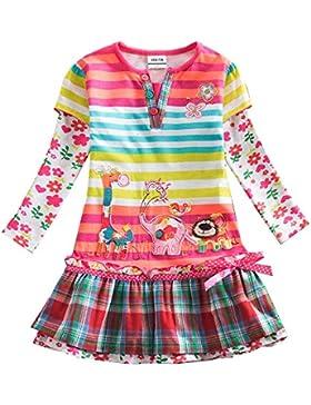VIKITA Mädchen Crewneck Langarm Baumwolle Kleid 2-6 Jahre