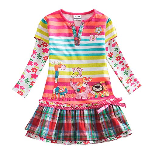 VIKITA Kid Girls Cotton Embroidery Rainbow Long Sleeve Flower Dress 1-8 Years L323 3T