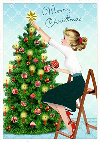 Retro Advent Calendar ft. Girl decorating a Christmas tree