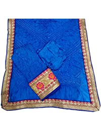 Jaipuri Rajasthani Suit Art Silk Bandhej Gota Patti Bandhini Dupatta Top & Bottom Dark Blue