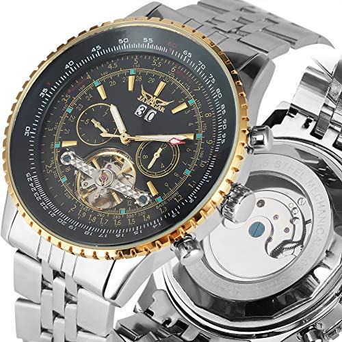 Mechanische Herren-Armbanduhr Skelett-Uhr, schwarzes Zifferblatt mit Kalender, Edelstahl, automatische Uhren, leuchtende Funktion