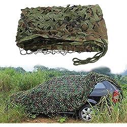 ZhongYeYuanDianZiKeJi Filet de Camouflage Camo Filet Tissu Oxford Chasse Cacher Woodland Camping Militaire 1m 2m 3m 4m 5m 7m, Vert Militaire, 3x5M