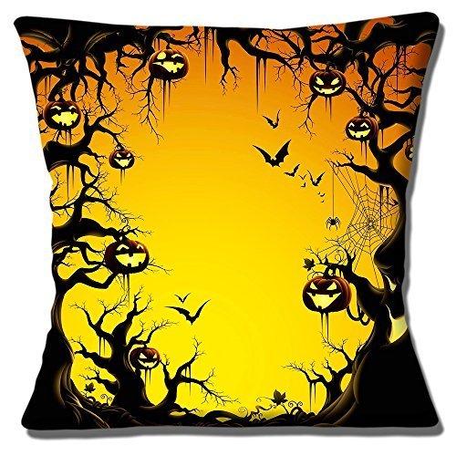 Halloween Wald Kürbis Laternen Fledermaus Bäume - 40.6cm (40cm) Kissenbezug