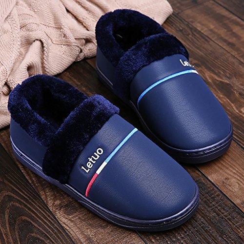 Icegrey Chaussons D'Intérieur Soft Bottom Maison Pour Hommes et Femmes Hiver Chaussons Chaud Pantoufles Antidérapants Chaussures Maison Slippers Bleu Profond