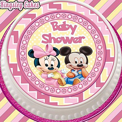 vorgeschnittenen Essbarer Zuckerguss Cake Topper, 19,1cm rund rosa Baby Dusche Mickey und Minnie Maus (Baby Minnie Maus Baby-dusche)