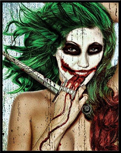 Unbekannt Daveed Benito Joker Mädchen Why so Serious Sexy Gothic Pinup Art Postkarte Poster Print Schwarz 11x14 Framed Schwarz -