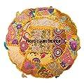 indischen osmanischen Pouf Bezug Deko Wohnzimmer Fusshocker Bohemian Stuhl Bezüge handgefertigt Baumwolle Traditionell Runder Pouf 81,3cm indischen Kissenbezug Set Bohemian Hippie Hippie-Mandala Kissen Set von Janki Creation bei Gartenmöbel von Du und