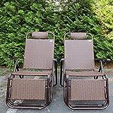 2Set di Poltrona relax Poly Rattan sedia da giardino in alluminio con poggiapiedi–Sedia a sdraio immagine