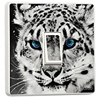 White Tiger with Blue Eyes Decorative Design for Single Light Cover, Self-adhesive Vinyl Skin Sticker