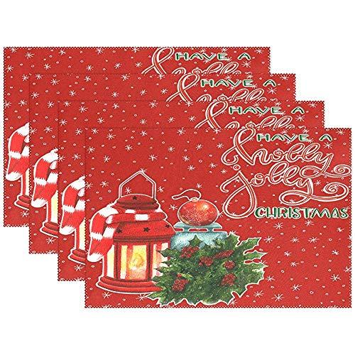 Winter Laterne Holly Weihnachten Urlaub Tischsets Esstisch Hitzebeständige Küchentisch Dekor Waschbar Tischsets Set Von 6, (45X30 cm)