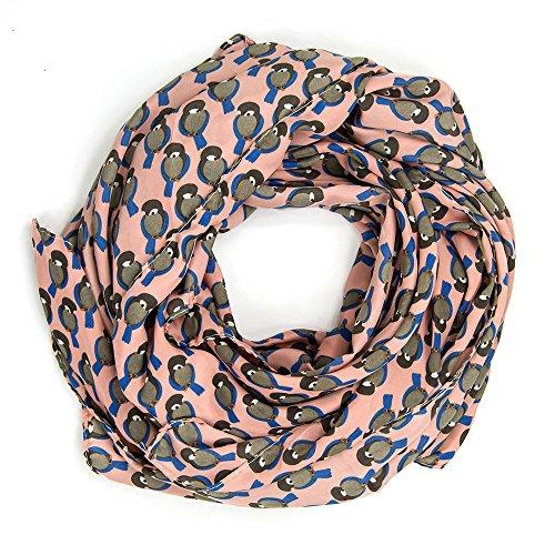 MANUMAR Loop-Schal für Damen | Hals-Tuch in rosa grau mit Vogel Motiv als perfektes Frühling Sommer Accessoire | Schlauchschal | Damen-Schal | Rundschal | Geschenkidee für Frauen und Mädchen