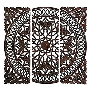 Artesia Wooden Set of 3 Brown Carved Plaque Wall Panels And Home Decor