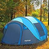TY&WJ Campingzelt,Freien build Schnell öffnen Kuppelzelte Für outdoor-sportarten Wasserdicht 4-jahreszeiten Tipi 3-4 personen-Blau 290x200x130cm(114x79x51inch)
