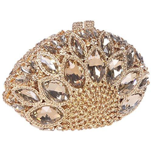 Santimon Clutch Delle Donne Grande Diamante Borse Da Festa di Nozze Sera A Forma Di Conchiglia Di Mare Strass Diamante Cristallo Con Tracolla Amovibile 4 Colori giallo