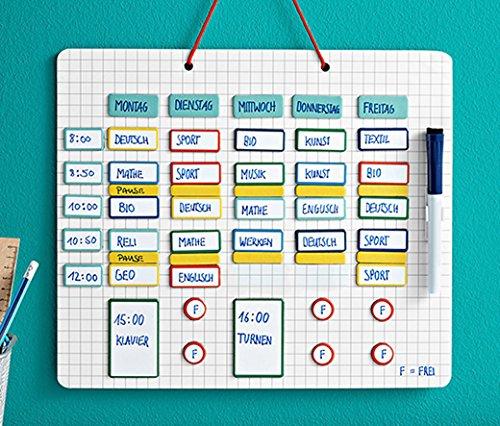 Wochenplan Stundenplan Terminkalender Kalender für Schüler und Studenten mit Magnetbord beschreibbar + 94 magnetische und wieder beschreibbare Elemente Maße 35 x 30 cm