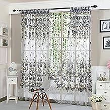 Upxiang Romantische Pfingstrose Fenstervorhang, Vorhang Tüll,  Fensterbearbeitung, Voile Tüll Vorhang Schlaufen Transparent,