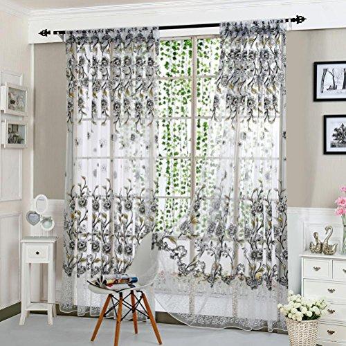 Upxiang Romantische Blume Schiere Fenstervorhang, Tüll Vorhang Schlaufen transparent, Fenster Verdunkelung Ösen Gardine, Voile Voilevorhang-Fein Fenster Dekoration (Grau) -