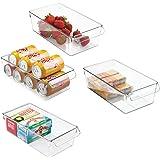 mDesign Set med 4 förvaringsfack – stor låda med handtag – perfekt som köksbricka i köksskåpen eller som kylboxar – klar