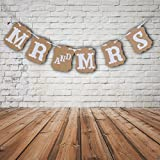 BESTIM INCUK MR AND MRS Burlap Wedding Bunting Banner for Wedding Party Reception Decorations