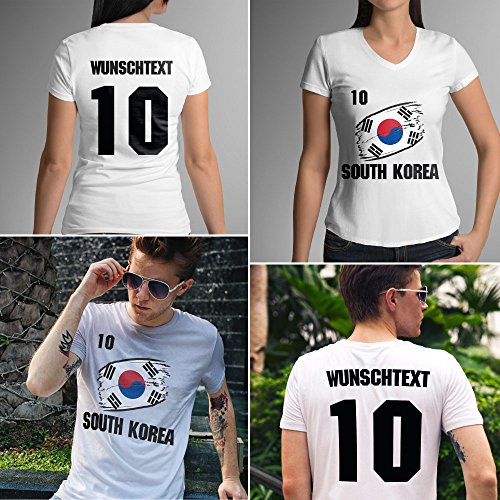 South Korea | Süd Korea | Männer oder Frauen Trikot T - Shirt mit Wunsch Nummer + Wunsch Name | WM 2018 T-Shirt