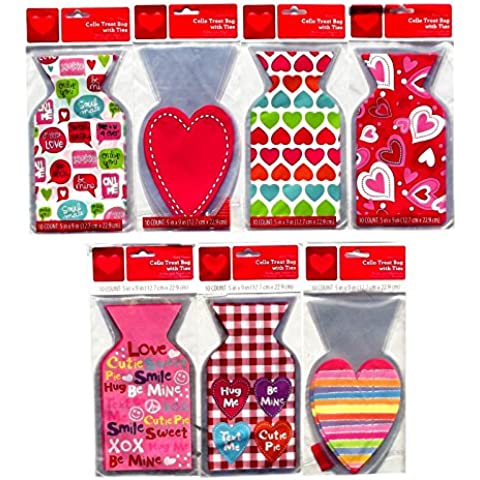 Valentine Cello Treat Bags with Ties 10 Count 5 x 9 Inches, Assorted - Styles Vary by West Coast