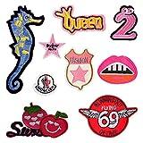 Dosige 10 Stk Patch Sticker Niedlich DIY Kleidung Patches Aufkleber für T-Shirt Jeans Kleidung Taschen Seepferdchen-Stickerei