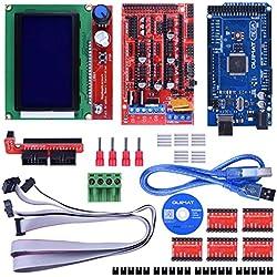 Kit de Impresora 3D para Arduino / Mega 2560 + RAMPS 1.4 + A4988 Controlador de Motor Pasos + LCD 12864 para Arduino Reprap Quimat
