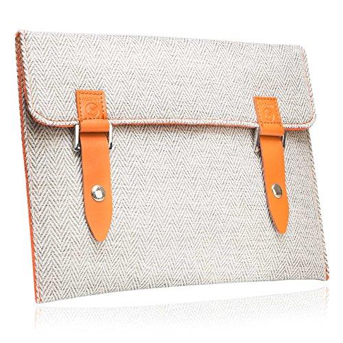 """#DoYourMobile© Tasche/Schutzhülle für eBook-Reader (eReader) - Tweedstoff in der Größe L 18 x B 14,4cm / 5,8 – 6,2"""" mit edlem Emblem & Druckknopfverschluss/Stoffmuster : 5 (hellgrau/weiß)"""