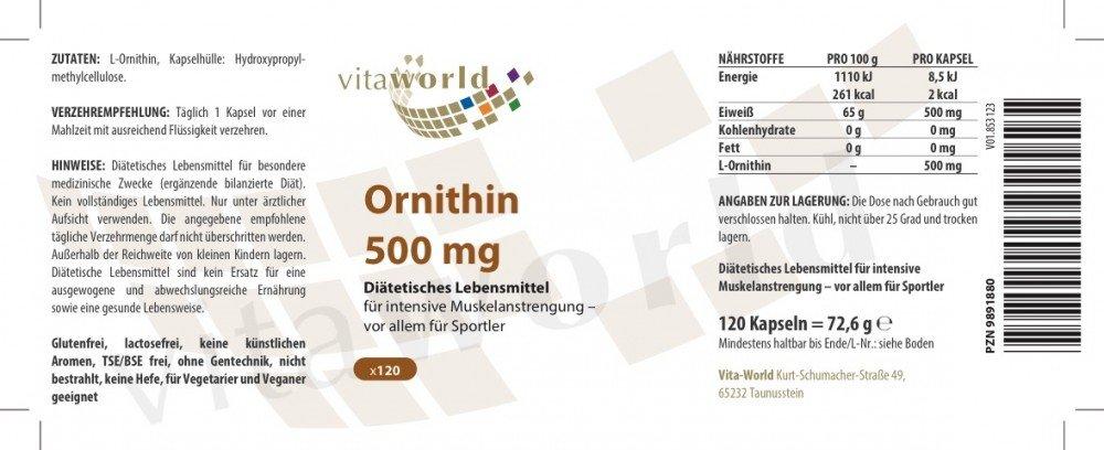 Vita World 3 Pack L-Ornithine 500Mg 3 x 120 Vegetarian Capsules Made in Germany