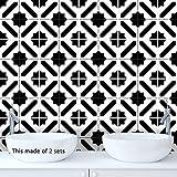Marocain Noir et Blanc Carrelage Autocollant Salon Cuisine Auto-Adhésif Étanche Carreaux de ciment adhésif Mural Décoration De La Maison,20 * 20CM