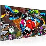 Bilder Graffiti Streetart Wandbild 100 x 40 cm Vlies - Leinwand Bild XXL Format Wandbilder Wohnzimmer Wohnung Deko Kunstdrucke Bunt 1 Teilig -100% MADE IN GERMANY - Fertig zum Aufhängen 401812a