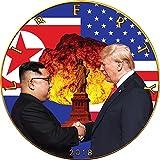 Power Coin Atomic Handshake Kim Jong-un Donald Trump Walking Liberty 1 oz Silber Münze 1$ US Mint 2018