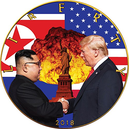 Power Coin Atomic Handshake Kim Jong-un Donald Trump Walking Liberty 1 oz Silber Münze 1$ US Mint 2018